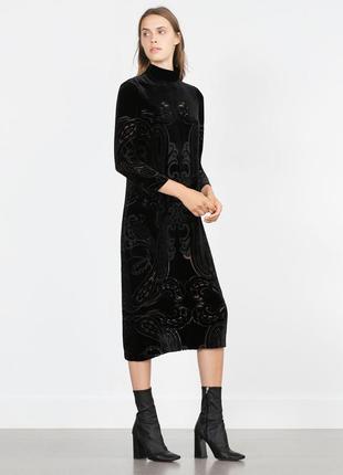 Zara бархатное платье, м, шёлк