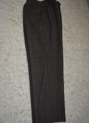 Теплые классические брюки, клетка, шерсть