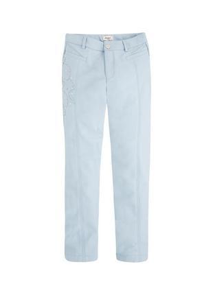 Новые голубые кожаные штаны с аппликацией для девочки, mayoral, 7529