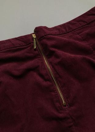 Cтильная вельветовая юбка бургунди  h&m s-m