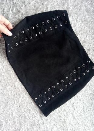Мини короткая юбка черная с завязками h&m divided 34 xs 36 s