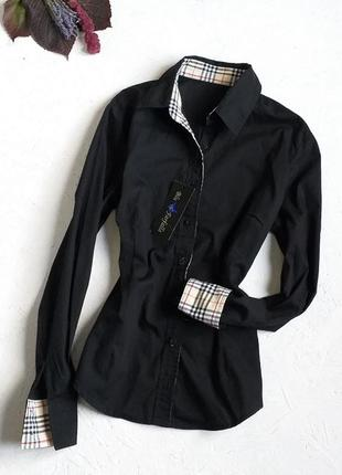 Стильная хлопковая чёрная базовая рубашка в стиле burberry