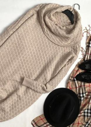 Трендовое вязанное платье оверсайз с горлом h&m
