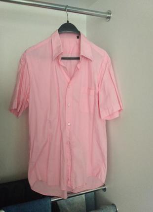 Розовая мужская рубашка в хорошем состоянии, хлопок