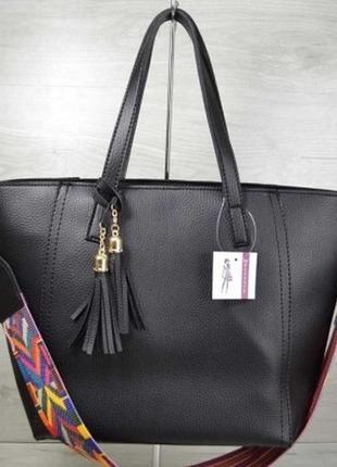 Чёрная женская большая сумка шоппер с длинными ручками на плечо из экокожи