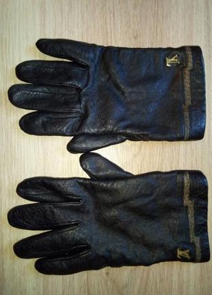 Перчатки мужские кожанные утепленные черные. размер 9½