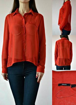 Базовая шифоновая блузa с удлиненной спинкой