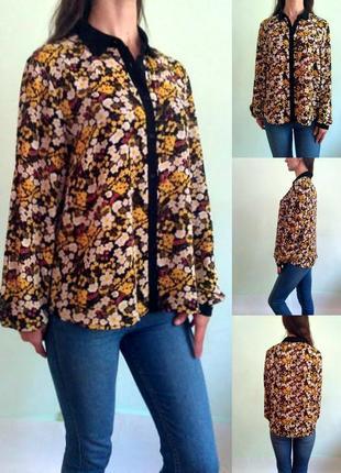 Блуза с длинными рукавами в цыеточный принт