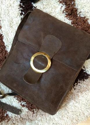 Кожаная сумка планшетка на плечо