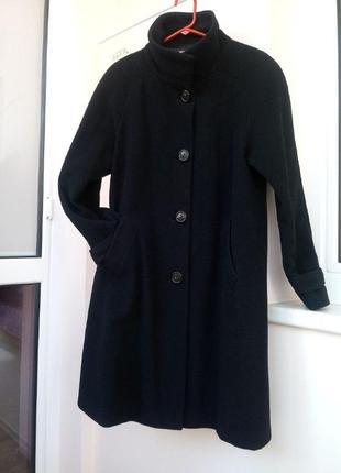 Теплое черное пальто премиум качество кашемир англия john lewis