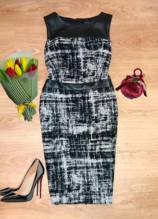 Стильное фактурное платье футляр soon с вставками экокожи размер 14