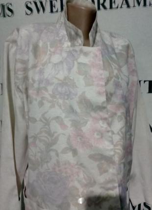 *батал*пиджак меланжевый с цветочным принтом uk 20 пог-60см