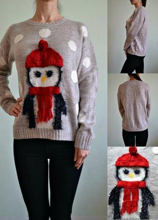 Прикольный свитер с пингвином 12-14