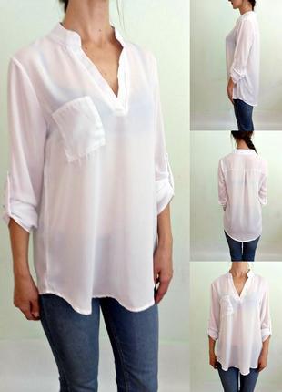 Легкая белая блуза с длинными рукавами