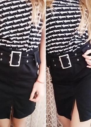Хлопковая базовая юбка с поясом от chicoree