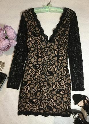 Шикарнейшее ажурное кружевное вечернее платье missguaided 10 размер