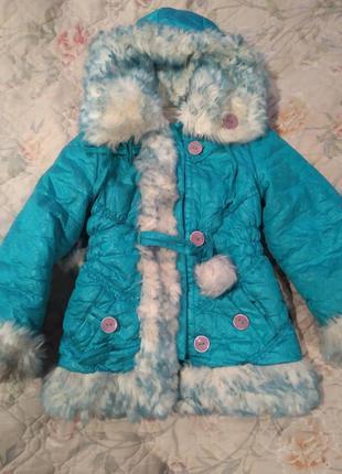 Очень теплая куртка на овчине на девочку зима.