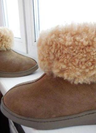 Кожаные зимние ботинки сапоги угги с мехом уги 39р.-25,3см