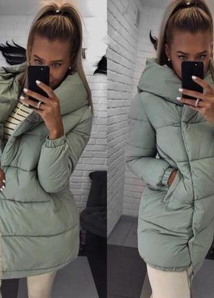 Стильная дутая куртка зефирка , теплая куртка 2019(размеры:42,44,46)