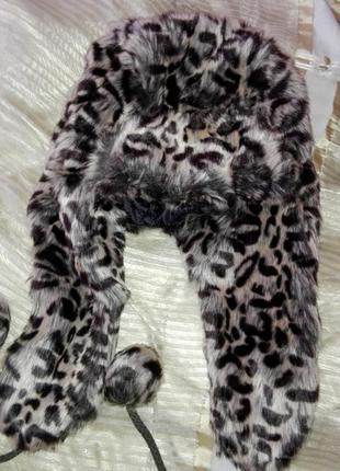 Шапка ушанка леопардовая очень стильная