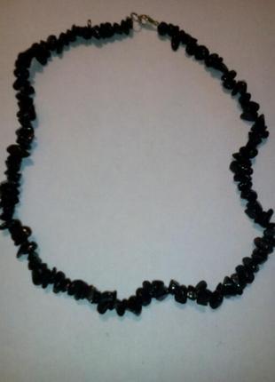 Бусы из камней черного агата