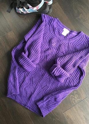 Красивый тёплый свитер сиреневого/фиолетового цвета