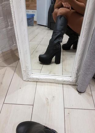 Сапоги зимние кожаные на каблуке размер 37