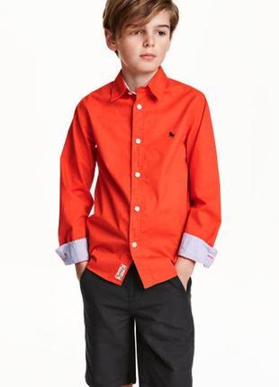 Оранжевая рубашка h&m для мальчика 10-11 лет рост 146