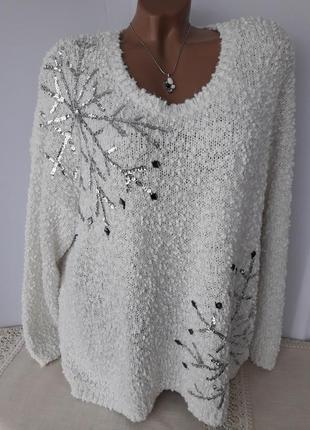 Нежный свитерок со снежынками....