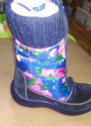 Зимние мембранные сапожки 29-34р floare kapika, замш, шерсть, сапоги, капика, ботинки