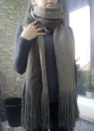 Теплый двухсторонний двухцветный шарф палантин цвета хаки