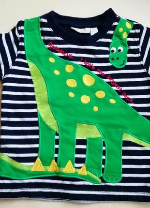Теплая футболка с динозавриком 12-18 мес