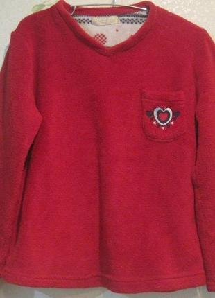 Теплый флисовый пушистый домашний реглан свитер на девочку 11-14 лет.