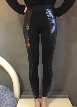 Штаны-лосины с вставками под кожу