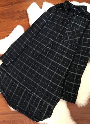 Хлопковое платье рубашка в клетку, удлиненная рубашка