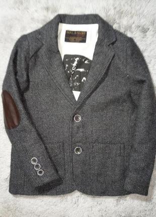 Стильный пиджак с заплатками мальчику soul&glory, 4-5 лет