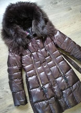Длинный натуральный пуховик р.s 38 (42-44) clasna пальто зима