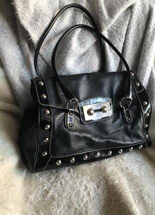 Чёрная кожаная сумка с лаковыми вставками dolce&gabbana