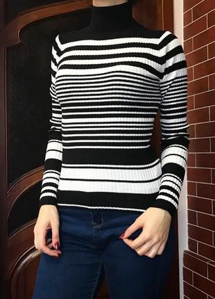 Гольф в полоску из натуральной ткани , свитер , джемпер