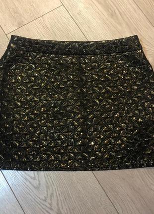 Чёрная юбка с золотым люрексом incity размер s/m