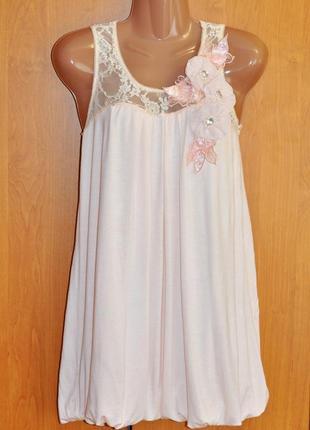 Нежное нарядное розовое летнее платье баллон с кружевом ax paris размер s/m цвет пудра