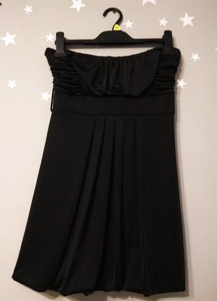 Черное мини платье туника бюстье без бретелей драпировка