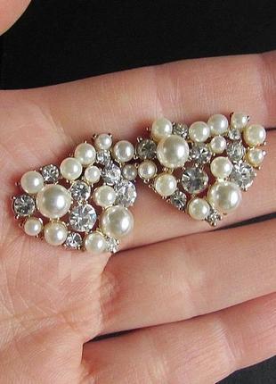 Красивые серьги жемчужные сердца, арт.3787