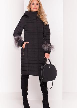 Женская зимняя куртка длинная с мехом 2019 стеганное