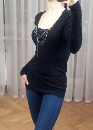 Свитер пуловер кофта черная нарядный ferre италия шерсть джемпер гольф шерстяной акрил