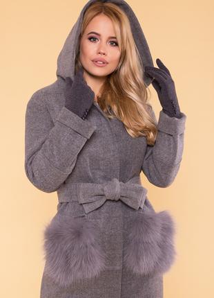 Женское зимнее пальто с мехом песца 2019