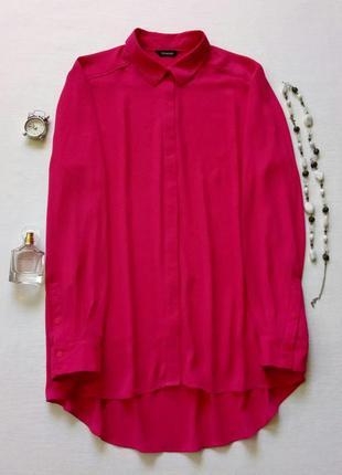 Шифоновая рубашка цвета фуксия,  блуза
