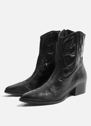 Трендовые кожаные черные ботинки сапоги казаки ковбойки topshop 40 размер.