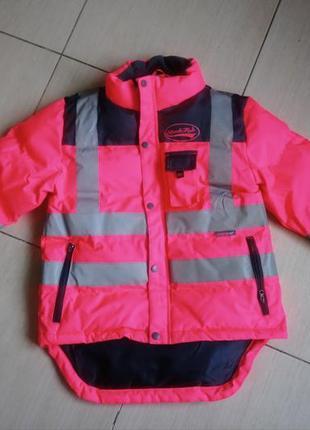 Куртка саортивная евро зима деми ультра розовый цвет отражатели