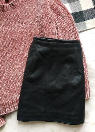Юбка кожаная с карманами трапеция под кожу h&m